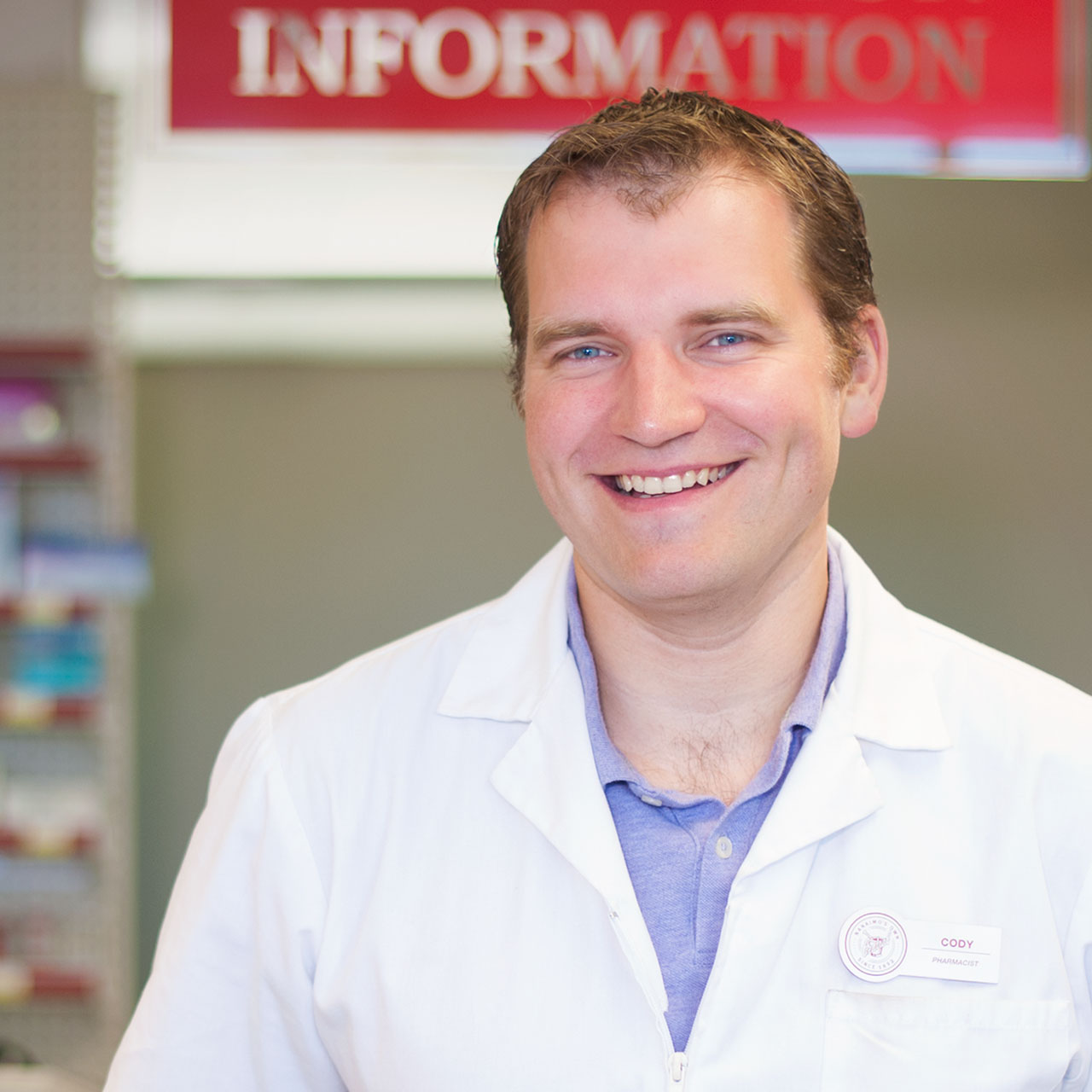 Find our pharmacist Cody at our Brickyard location
